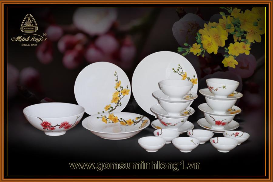 Minh Long - Bộ bàn ăn 22sp Sắc Xuân - 22398