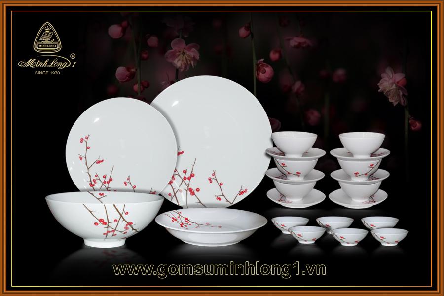 Bộ bàn ăn 22sp Hồng đào-22236 Minh Long