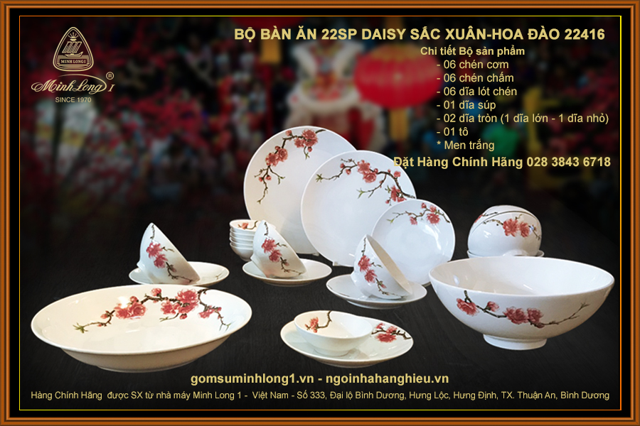 Bộ bàn ăn 22sp Daisy Sắc Xuân-Hoa Đào 22416