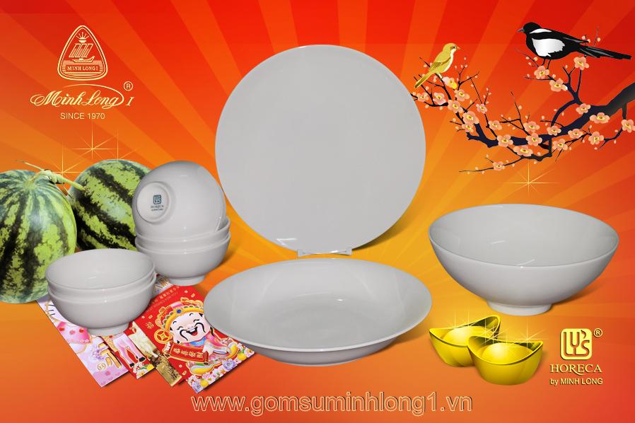 Quà tặng tết 02- Bộ bàn ăn 09Sp Dai Ly's (Men ngà) BBA0902
