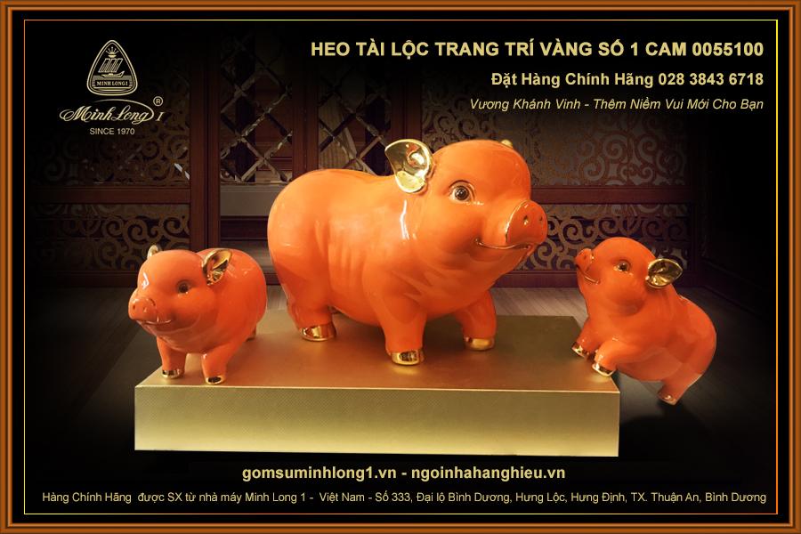 Heo Tài Lộc trang trí vàng số 1 Cam 00551006