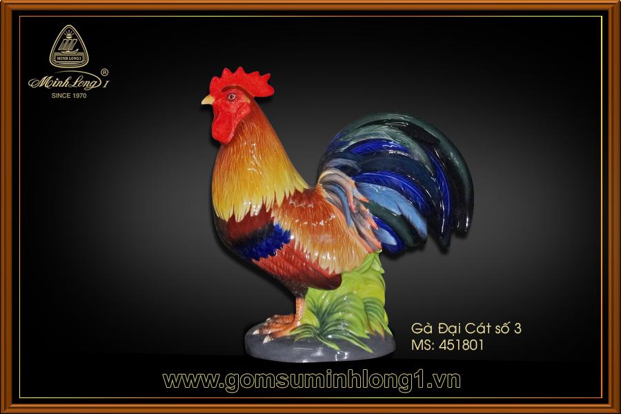 Tượng gà Đại cát (trống đuôi xanh) số 3 trang trí màu 451801