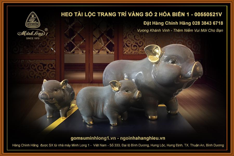 Heo Tài Lộc trang trí vàng số 2 Hỏa biến 1 - 00550521V