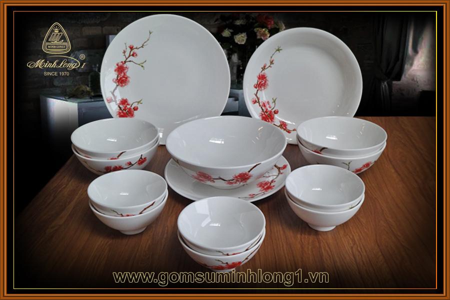 Bộ bàn ăn 14sp Daisy IFP Hồng Đào - 461428410 (QA)