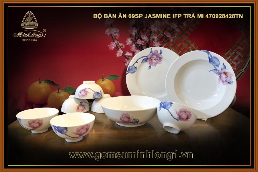 Bộ bàn ăn 09sp Jasmine IFP Trà Mi 470928428TN