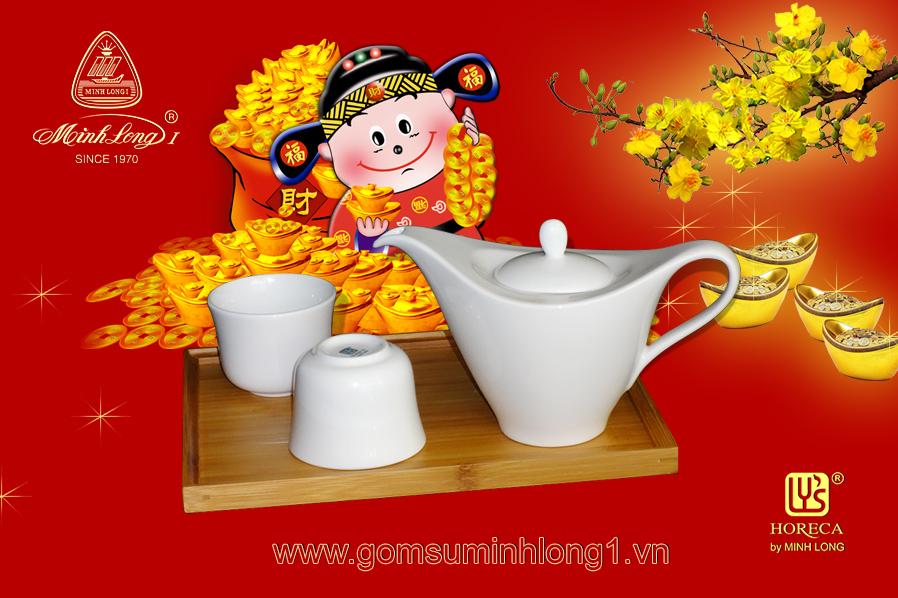 Quà tặng tết 09 - Bộ trà đối ẩm 03SP Lys (Men ngà) BTDA0301