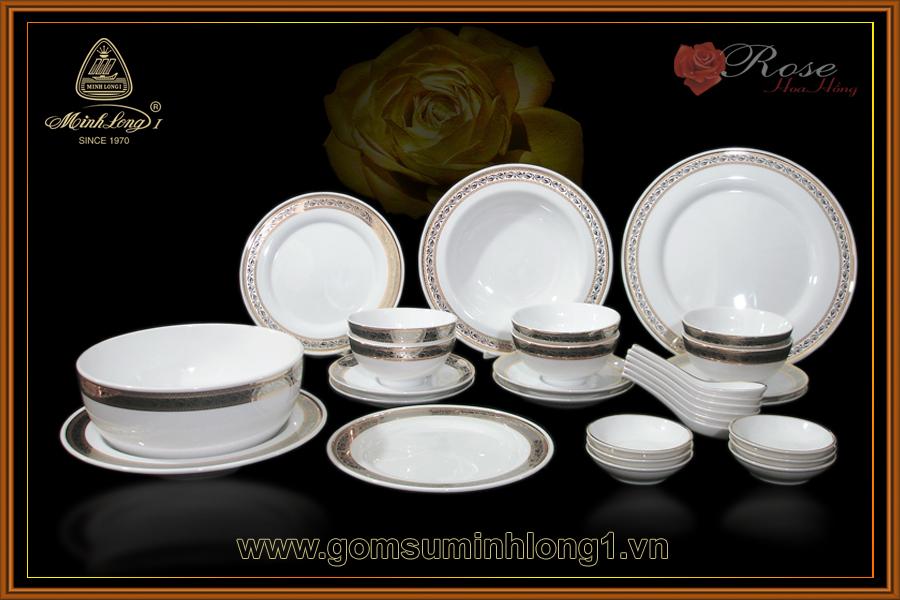 Bộ bàn ăn 30sp Hoa Hồng 30017
