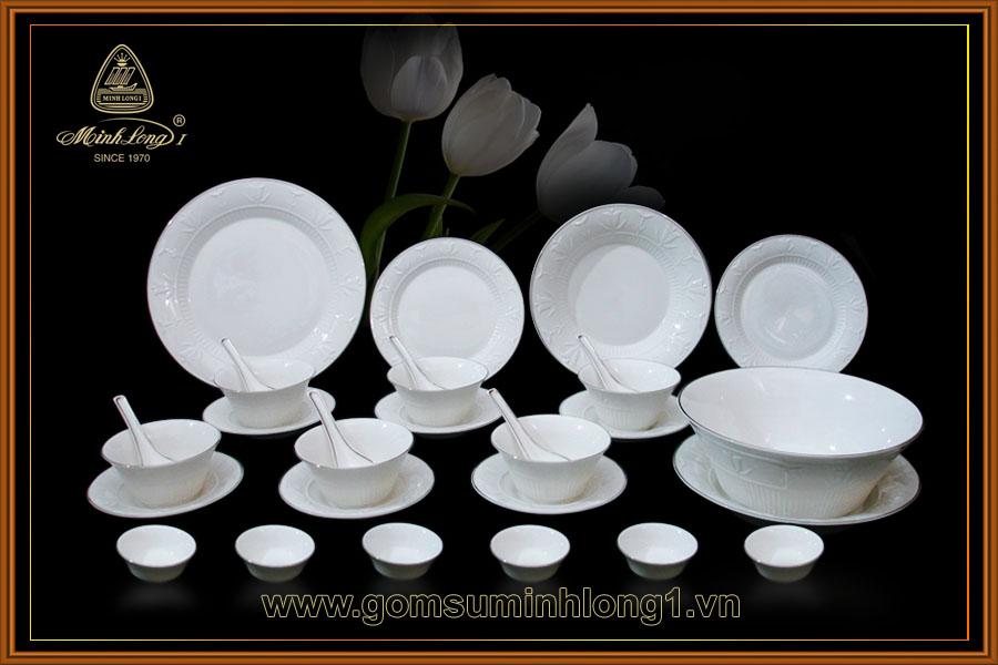 Bộ bàn ăn 30sp Tulip nổi chỉ bạch kim 30043TLN (NSX)