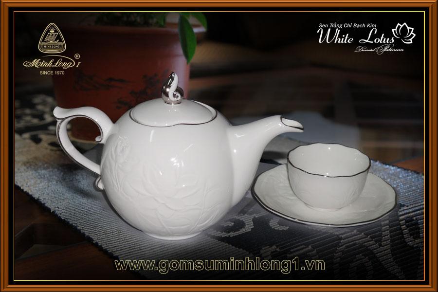 Bộ trà Minh Long I 0.7L Sen IFP Chỉ bạch kim 68701404303