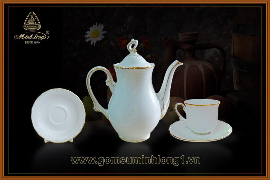 Bộ cà phê 1.2L (cao) Royal trắng chỉ vàng 01120301403