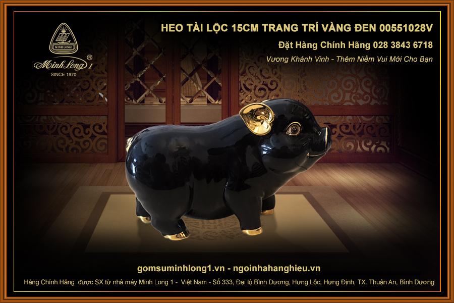 Heo Tài Lộc 15cm trang trí vàng Đen 00551028V