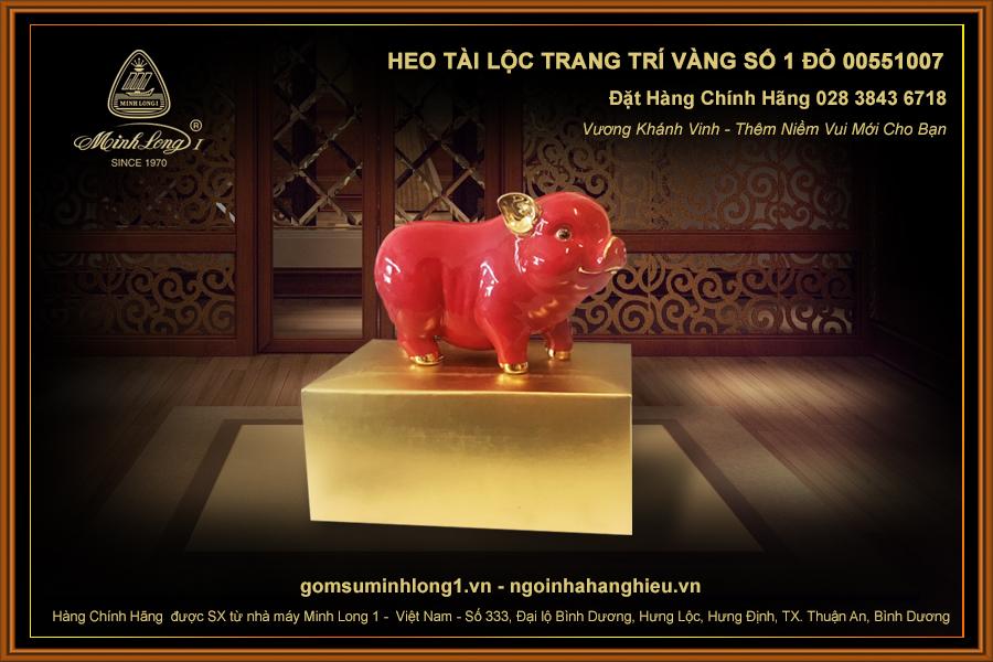 Heo Tài Lộc trang trí vàng số 1 Đỏ 00551007