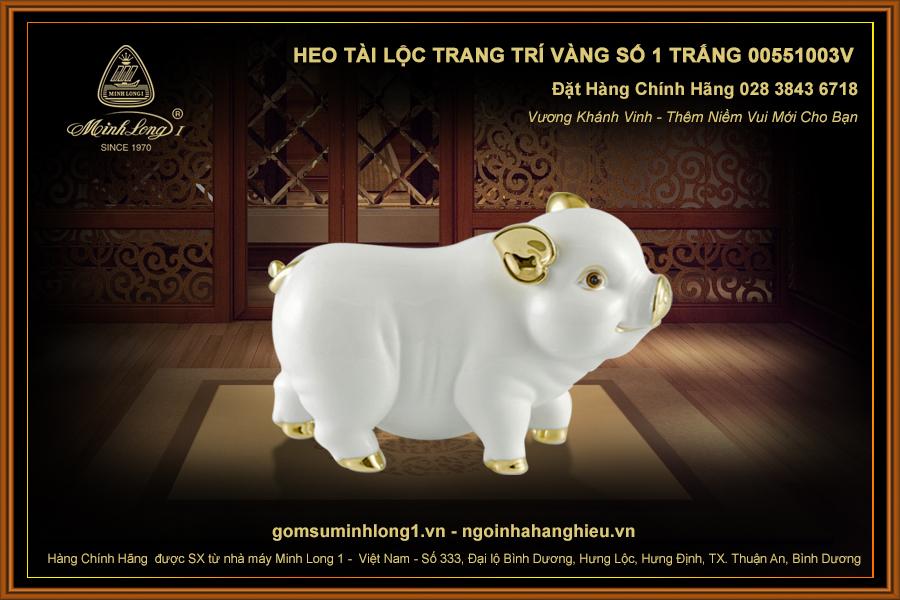 Heo Tài Lộc trang trí vàng số 1 Trắng 00551003V