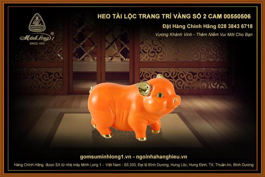 Heo Tài Lộc trang trí vàng số 2 Cam 00550506