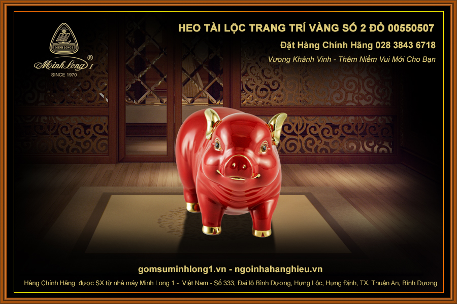 Heo Tài Lộc trang trí vàng số 2 Đỏ 00550507