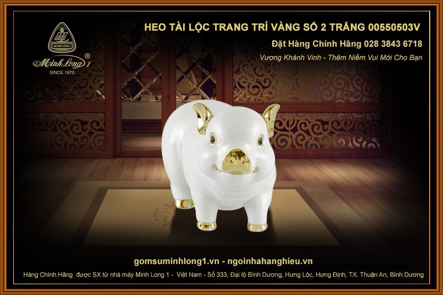 Heo Tài Lộc trang trí vàng số 2 Trắng 00550503V