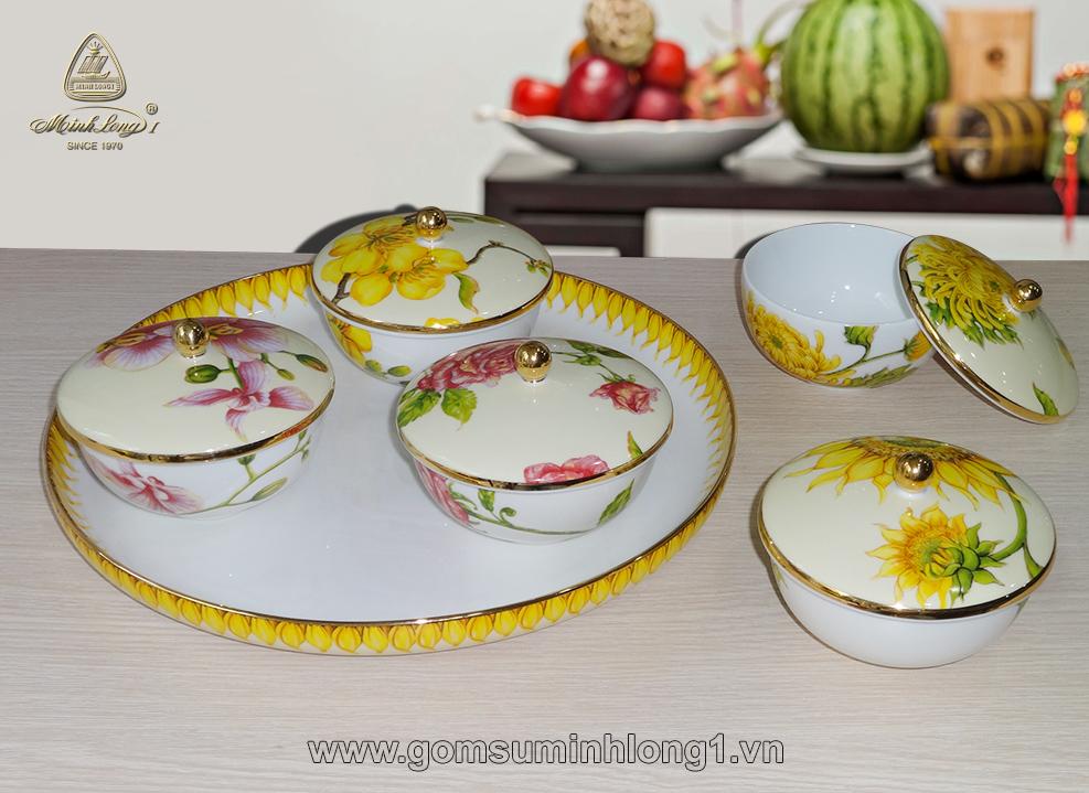 Bộ khay mứt ( 5 chén in hoa) IFP-22290144403 gốm sứ Minh Long I
