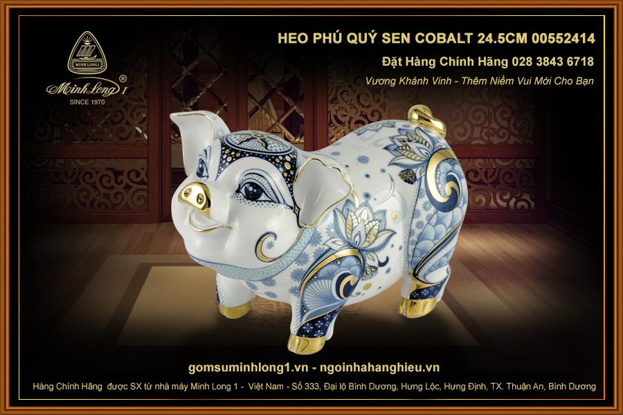 Heo Phú Quý Sen Cobalt 24.5cm 00552414